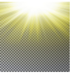 Yellow sun ray light effect isolated on transparen vector