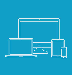 outline electronic devices on blue background vector image
