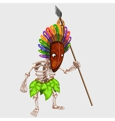 Skeleton in Indian mask with spear vector image vector image