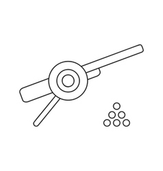 Ancient cannon with cannon balls thin line icon vector image