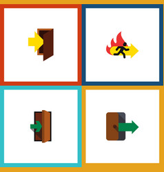 flat icon exit set of directional entrance entry vector image vector image
