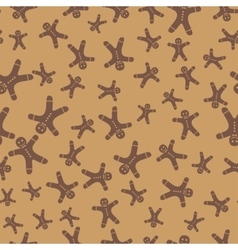 Gingerbread man seamless background vector image vector image