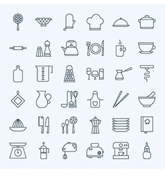 Line Cooking Utensils and Kitchenware Icons Set vector image