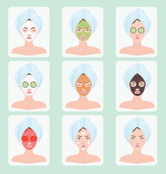 beautiful woman with facial mask vector image vector image