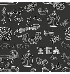 Black and white tea time pattern vector image vector image