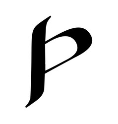 letter p painted brush vector image