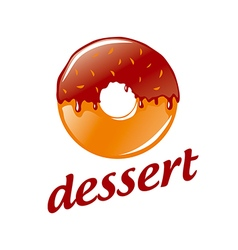 logo round donut with chocolate vector image vector image