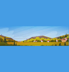 nature mountains summer landscape with small vector image