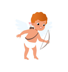 redhead baby cupid character shooting a bow happy vector image