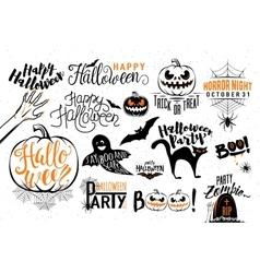 Happy Halloween celebration icon label templates vector image