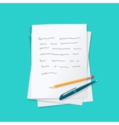 Paper sheets pile abstract text with pen and vector image