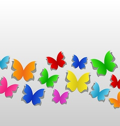 Set cut out colorful butterfly grey paper vector image vector image