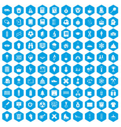 100 school years icons set blue vector