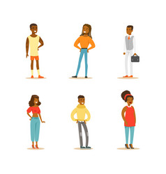 african american people set cheerful men vector image
