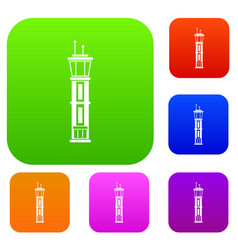 airport control tower set collection vector image