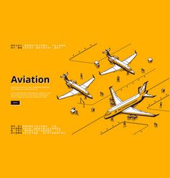 aviation isometric landing page airplanes runway vector image