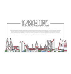 Barcelona landmark panorama in linear style vector