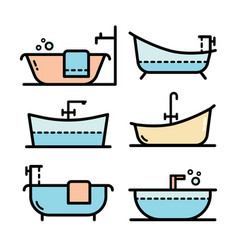 Bathroom bathtub simple style color icon set vector