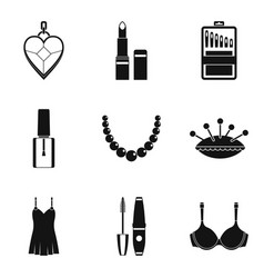Beautiful clothes icons set simple style vector