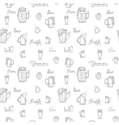 beer mug and words - seamless pattern vector image