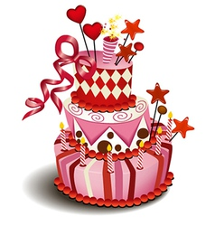 Big pink cake vector image