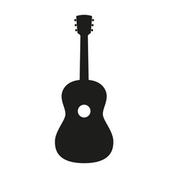 Black and white acoustic guitar silhouette vector