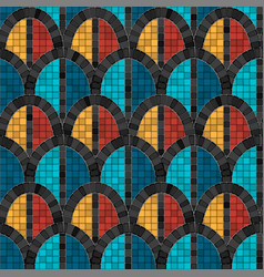 Black arch mosaic seamless pattern in antique vector