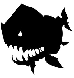 Black graphic monster fish with big head vector