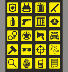 Black police icons collection vector