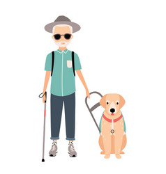 Blind man colorful image featuring visually vector