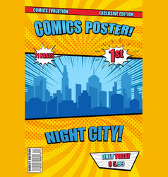bright night city comic poster cover vector image