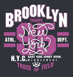 brooklyn t-shirt graphics new york athletic vector image