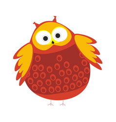 cartoon round owl with red and orange colored vector image