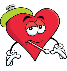 cartoon sick heart with a thermometer vector image