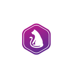 cat with big tail sitting for logo design in a vector image