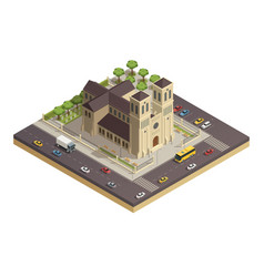 Church cathedral road isometric composition vector