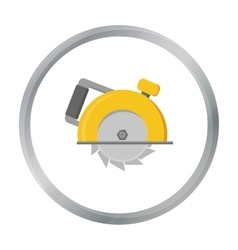 Circular saw icon in cartoon style isolated on vector