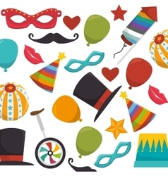 Circus entertainment set icons vector