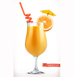 cocktail orange fruit juice 3d icon vector image