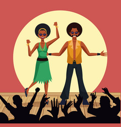 couple of disco dancers vector image