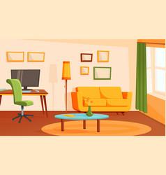 Cozy living room home interior flat modern vector