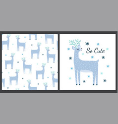 cute deer print and seamless pattern set funny vector image