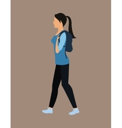 Cute girl tail hair bag walking vector