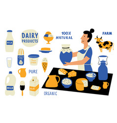 dairy products funny doodle set milkwoman food vector image