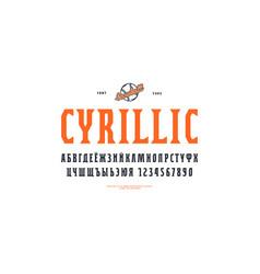 Decorative cyrillic narrow serif font vector