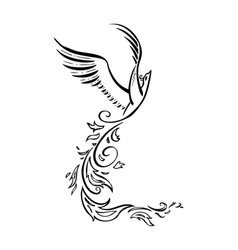decorative phoenix bird vector image vector image