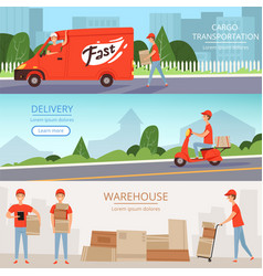 Delivery service banners cargo warehouse workers vector