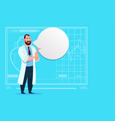 Doctor with chat bubble medical clinics worker vector