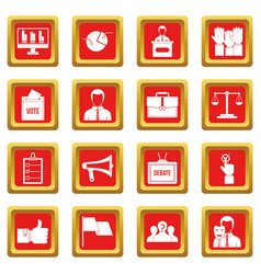 Election voting icons set red vector