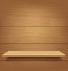 empty wooden shelf on wooden wall background vector image